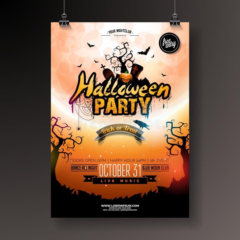 Halloween-Parteiflieger-Vektorillustration mit Kürbis und Schläger auf mysteriösem Mondhintergrund Feiertagsdesignschablone lizenzfreie abbildung