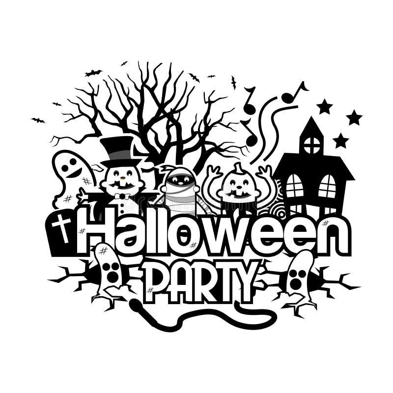 Halloween-Parteigekritzel Set der lustiger Zeichentrickfilm-Figurfedern und -bleistifts stock abbildung