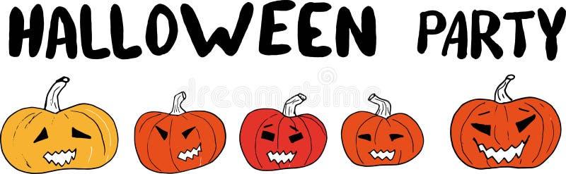 Halloween-Parteihand, die Fahne mit geschnitzten Kürbisen auf einem weißen Hintergrund beschriftend zeichnet Vektorgekritzelillus lizenzfreie abbildung