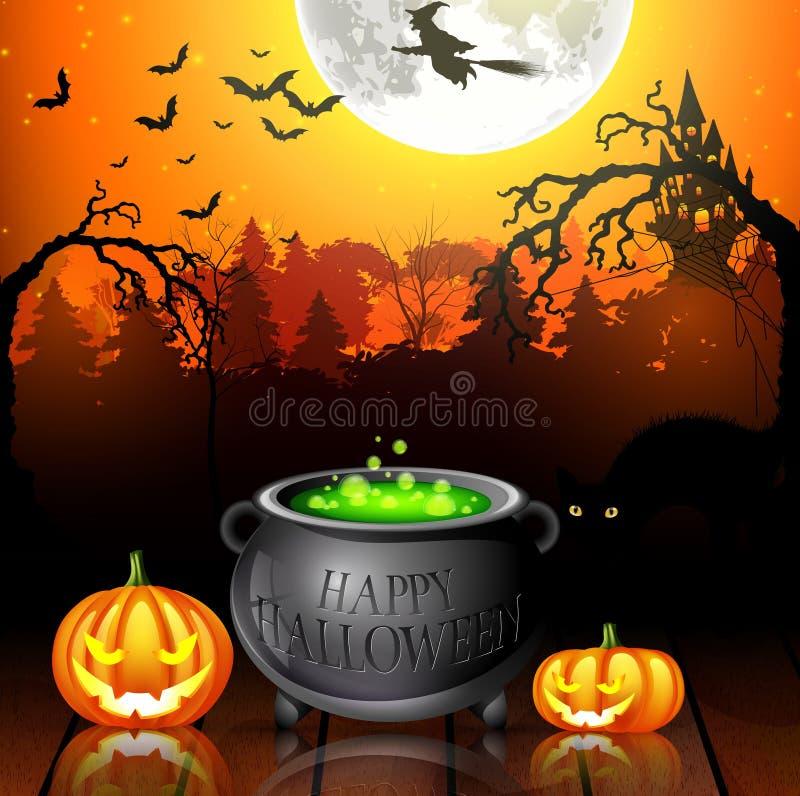 Halloween-Parteihintergrund mit Kürbisen, Topf und Fliegenhexen im Vollmond lizenzfreie abbildung