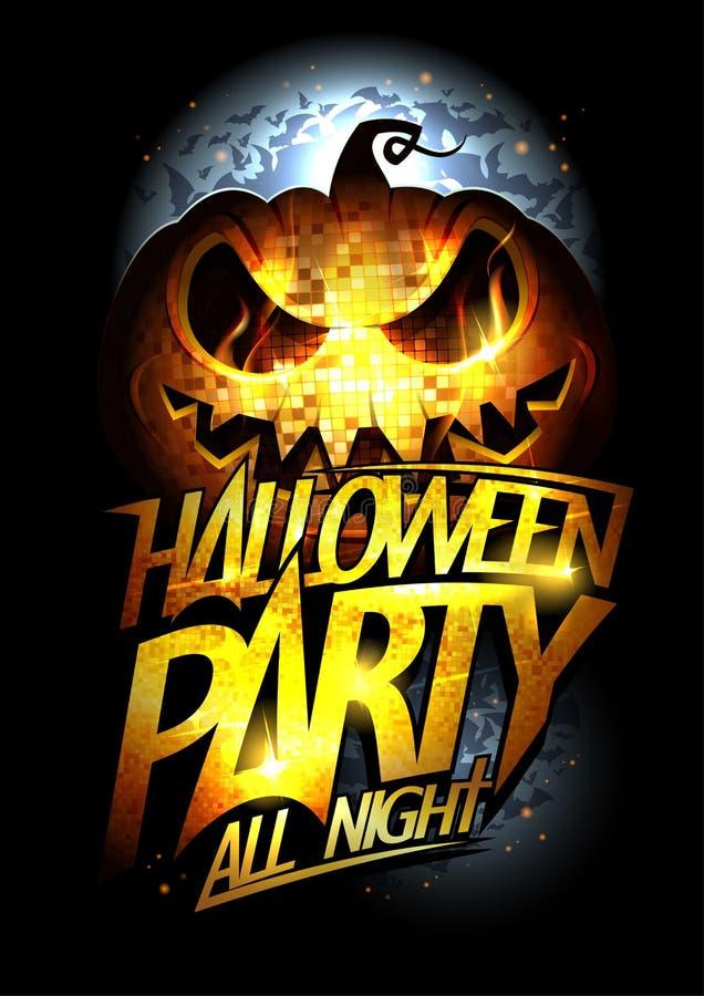 Halloween-Parteiplakat, Einladungskarte oder Netzfahne mit goldenem Titel und furchtsamem lächelndem Kürbis vektor abbildung