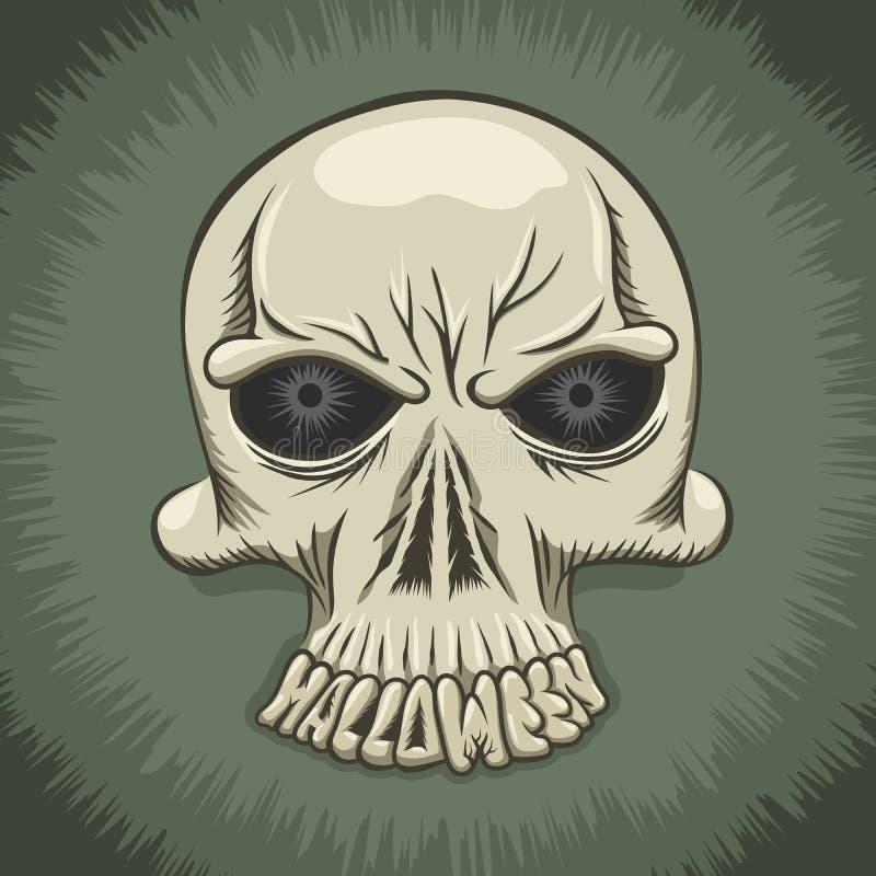 Halloween-Parteiplakat mit dem schlechten Schädel lizenzfreie abbildung