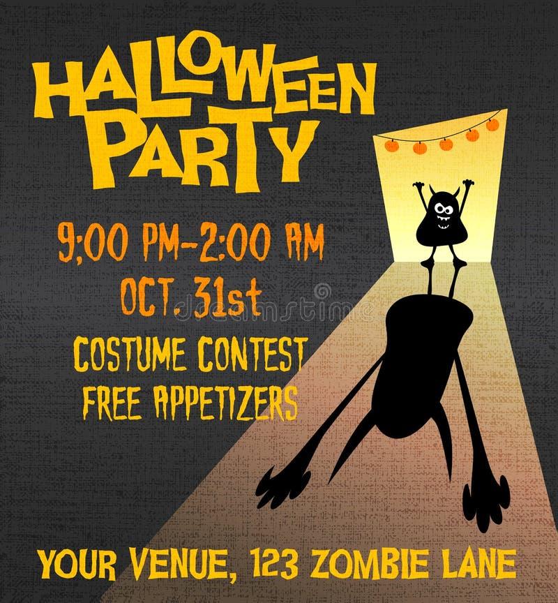 Halloween-Parteiplakat mit kleinem Monster vektor abbildung