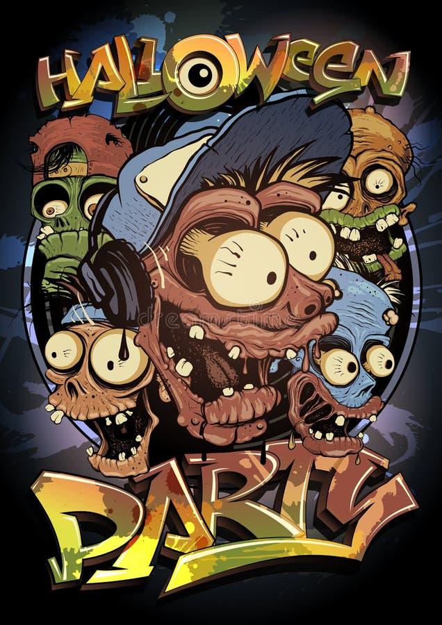 Halloween-Parteiplakatdesign mit Monstermenge lizenzfreie abbildung