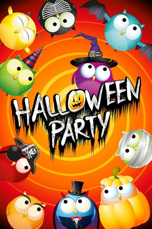 Halloween-Parteiplakatfahne mit bunten Eulen im Kostüm lizenzfreie abbildung