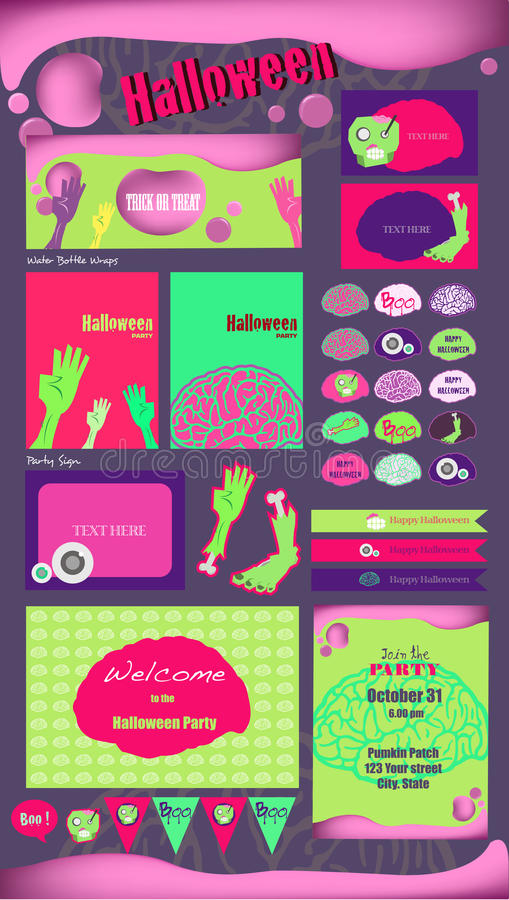 Halloween-Parteisammlung Vektor Halloween-Aufkleber, Ikonen, Elemente, Grußkarte vektor abbildung
