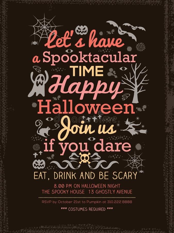 Halloween-Parteitypographie Schablone für Karte-Plakat-Flieger lizenzfreie abbildung