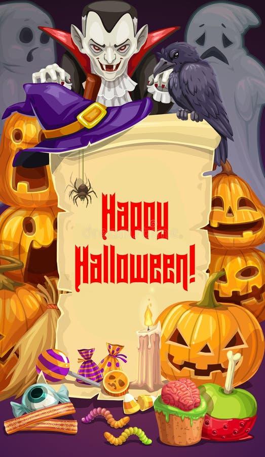 Halloween-partij, Dracula en pompoenen, snoepjes vector illustratie