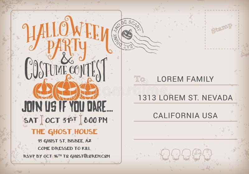 Halloween-Partij en de Uitnodigingsmalplaatje van de Kostuumwedstrijd stock illustratie