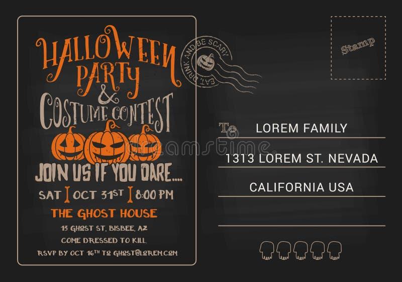 Halloween-Partij en het Malplaatje van de de Prentbriefkaaruitnodiging van de Kostuumwedstrijd royalty-vrije illustratie