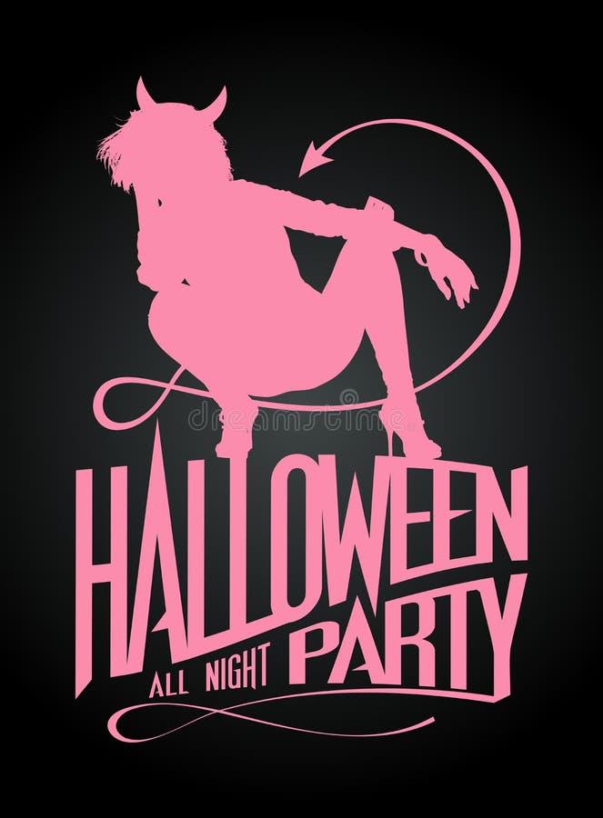 Halloween-partij, het silhouet van het duivelsmeisje stock illustratie