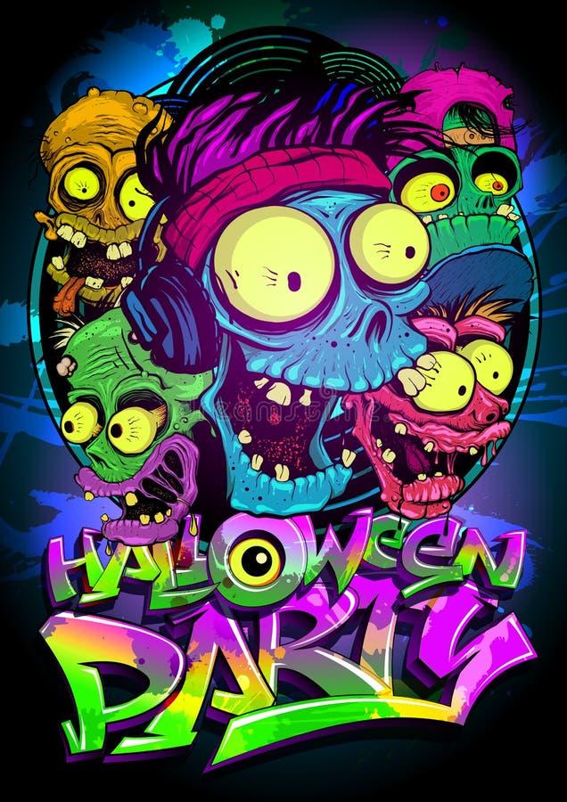 Halloween-Partij vectoraffiche royalty-vrije illustratie