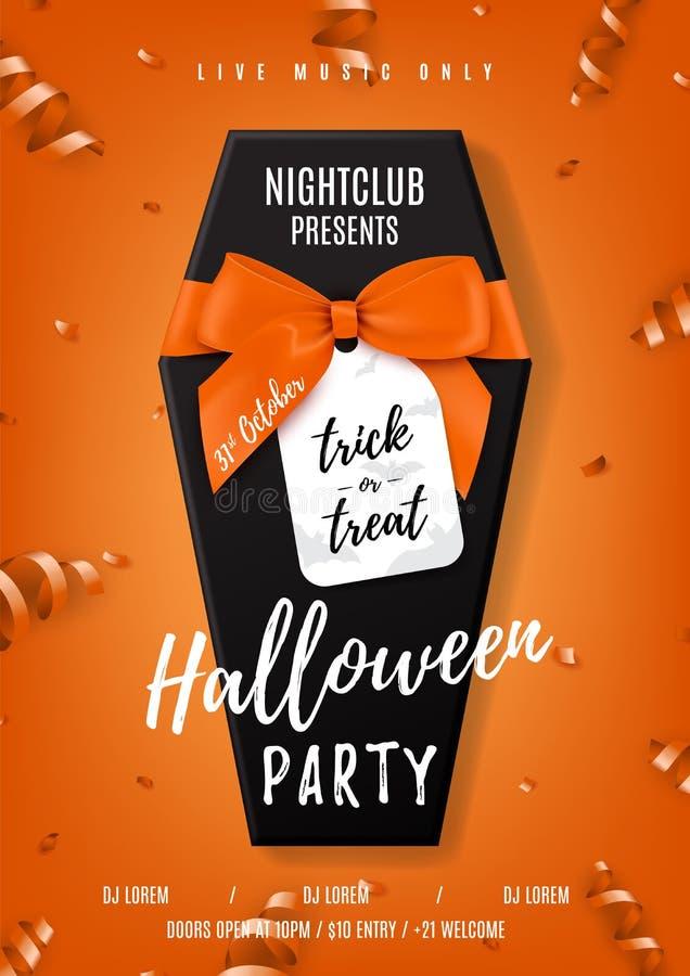 Halloween-partij vectoraffiche met zwarte doodskist vector illustratie