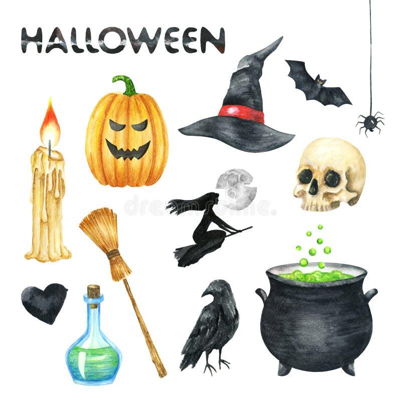 Halloween-partijillustratie Kaars, Pompoen, Heksenhoed, Knuppel, Scull, Zwart Hart, Vergiftfles, Raaf, Heksenpot, Heks, Volledig  vector illustratie