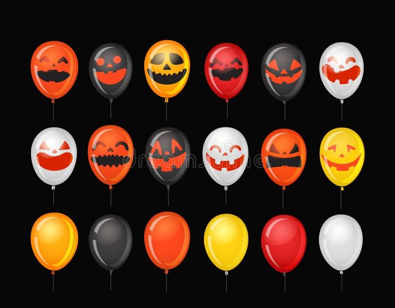 Halloween-partijimpulsen met pompoengezichten stock illustratie