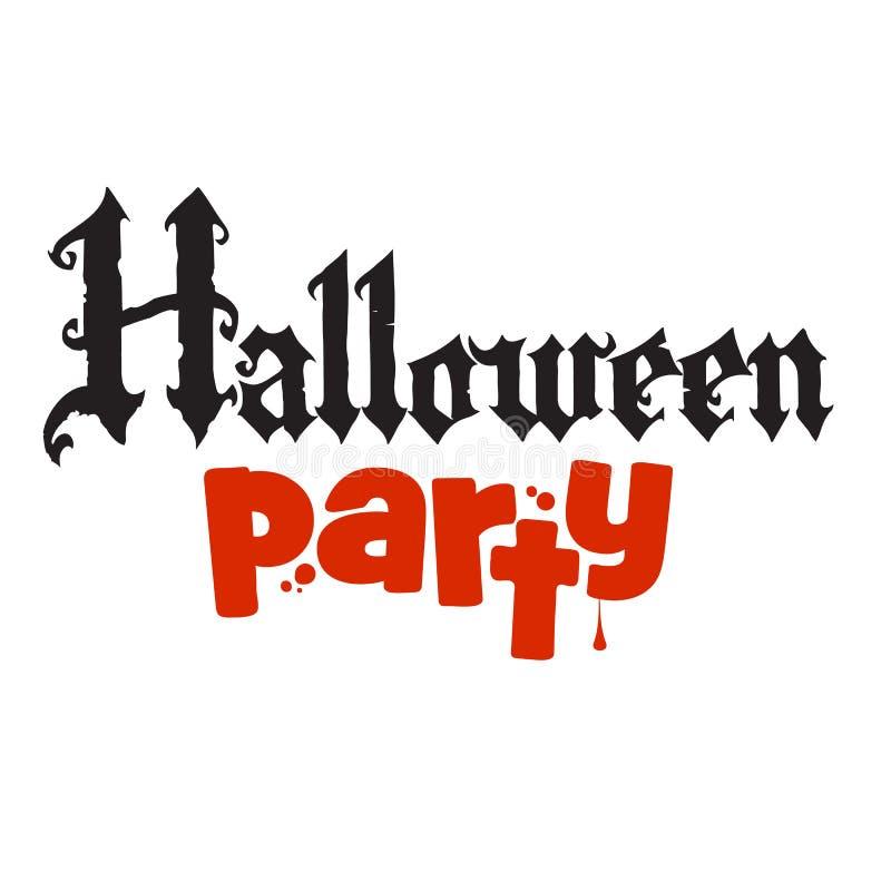 Halloween-Partijkalligrafie in Gotische stijl Vakantietekst voor banner, affiche, groetkaart, partijuitnodiging royalty-vrije illustratie
