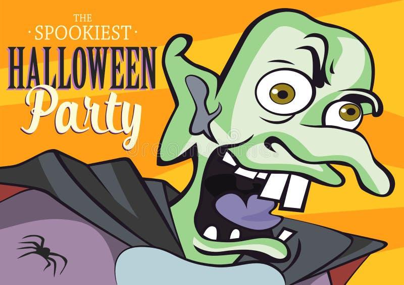 Halloween-partijmonster voor affiche, banner, brochure, uitnodigingskaart of verpakkingsontwerp Vector illustratie royalty-vrije illustratie