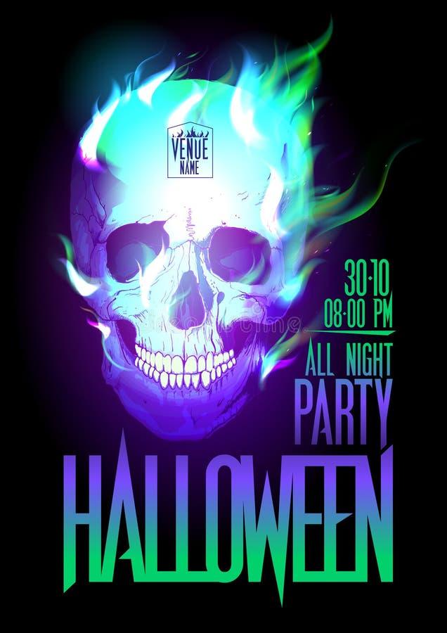 Halloween-partijontwerp met schedel in vlammen. stock illustratie