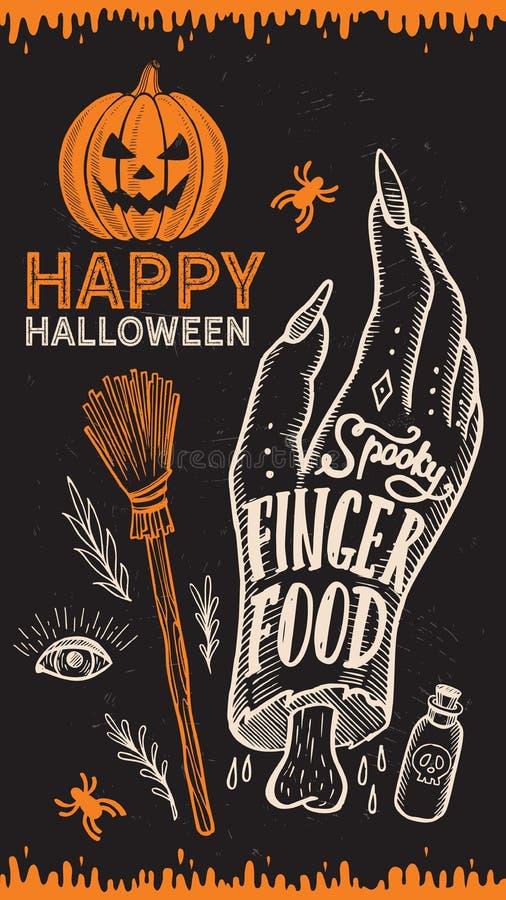 Halloween-partijuitnodiging met hand-drawn illustraties stock illustratie