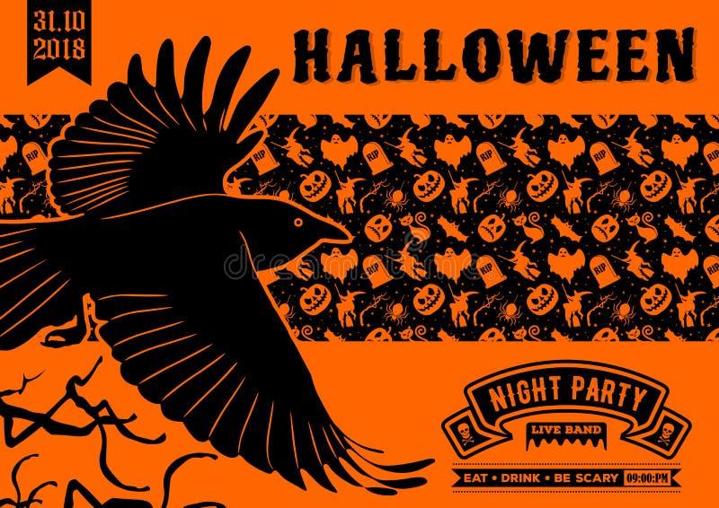 Halloween-partijuitnodiging met vliegende Raaf royalty-vrije illustratie