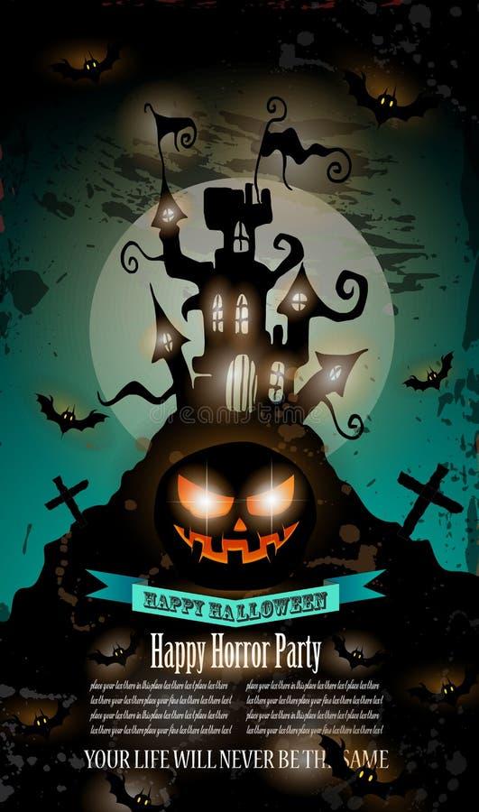 Halloween-Partijvlieger met griezelige kleurrijke elementen royalty-vrije illustratie