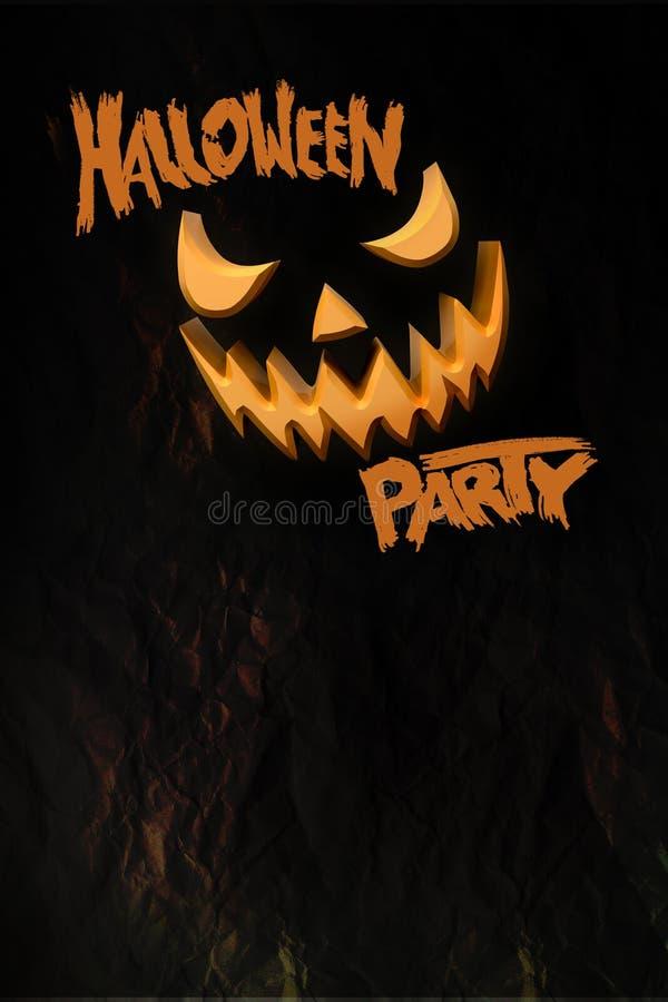 Halloween-partijvlieger met grijnzende Jack O Malplaatje met pompoen en typografieelementen Zegel voor enge vakantieviering 3d royalty-vrije stock afbeelding