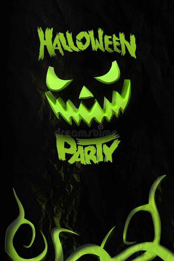 Halloween-partijvlieger met grijnzende Jack O Malplaatje met pompoen en typografieelementen Zegel voor enge vakantieviering 3d stock afbeelding