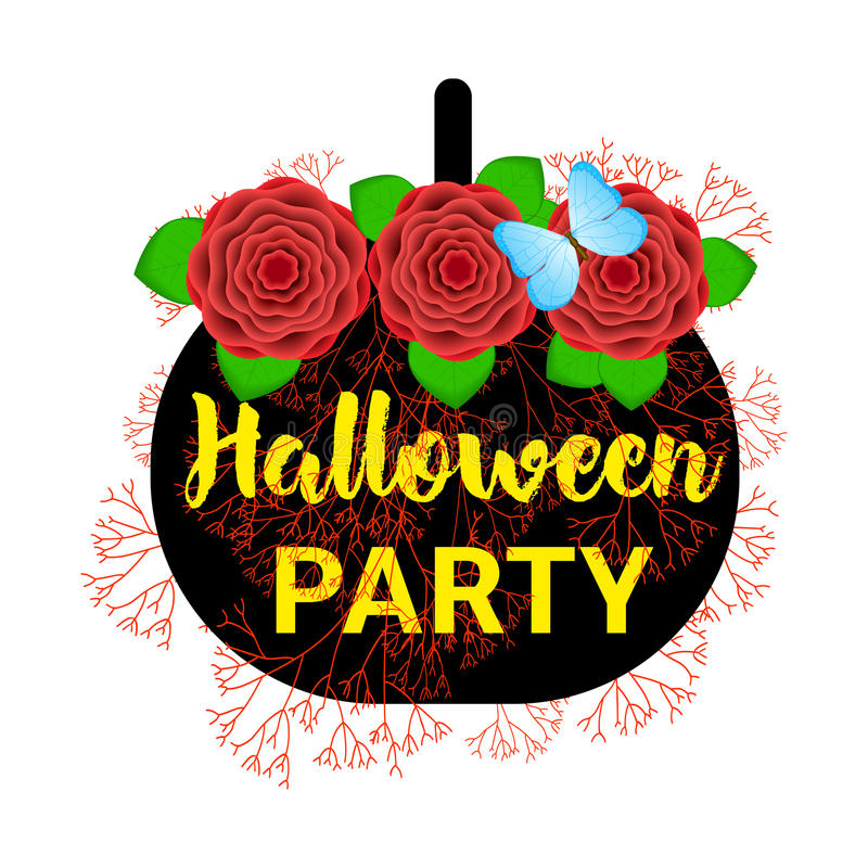 Halloween party background with black pumpkin and colorful flowers. Tempate for poster, card, banner stock illustration