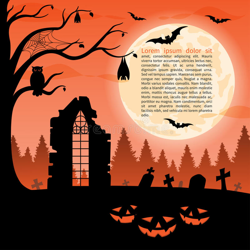 Halloween party background. Vector illustration. Halloween party background with pumpkins in the grass, ruins, graves, bats, owl and full moon royalty free illustration