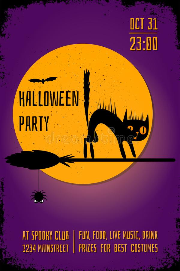 A Halloween party banner with a black cat on witch broom on purple background. Editable poster design template. vector illustration