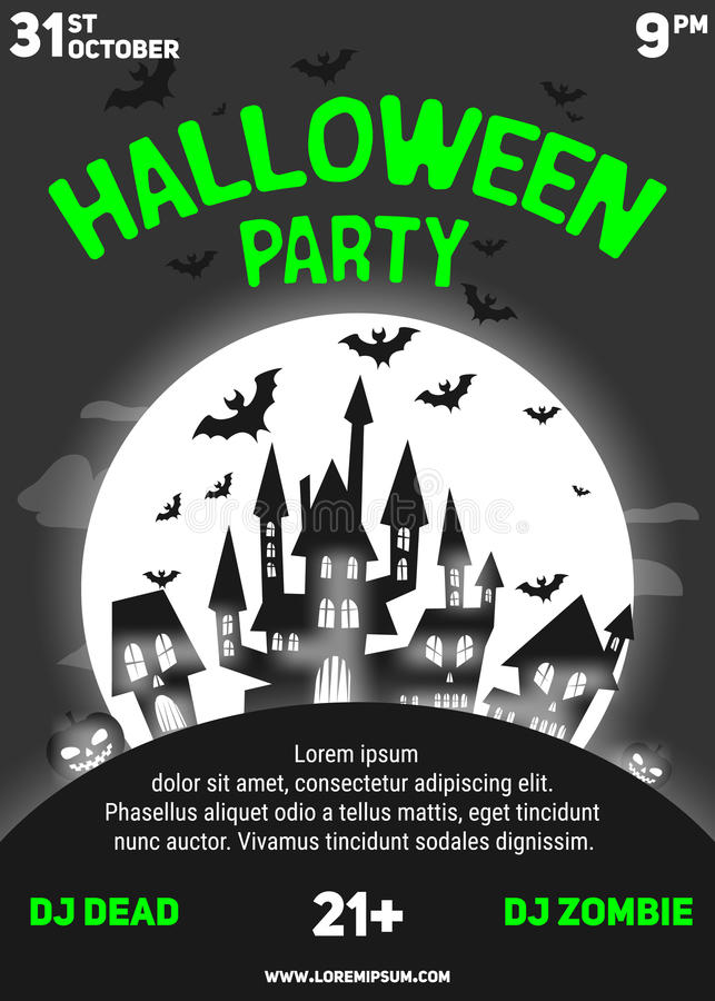 Halloween Party Black And White Flyer Template Stock Vector
