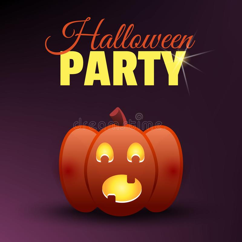 Halloween party card. Happy halloween banner. Holidays vector design elements. Scared screaming festive pumpkin Jack vector illustration