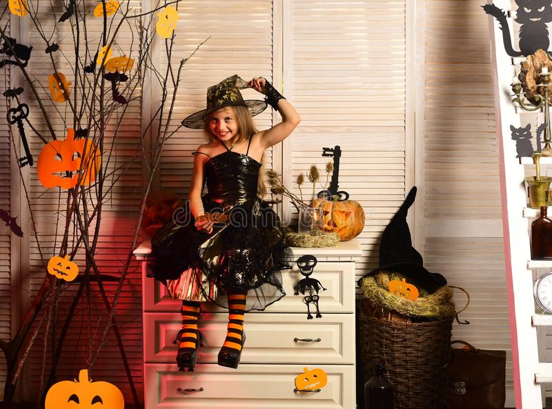 Halloween party and celebration. Girl with happy and flirty face stock photography