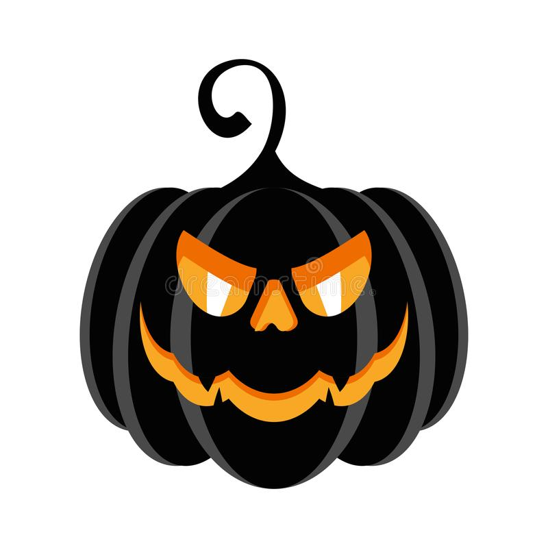 Halloween party character black pumpkin with burning evil eyes stock illustration