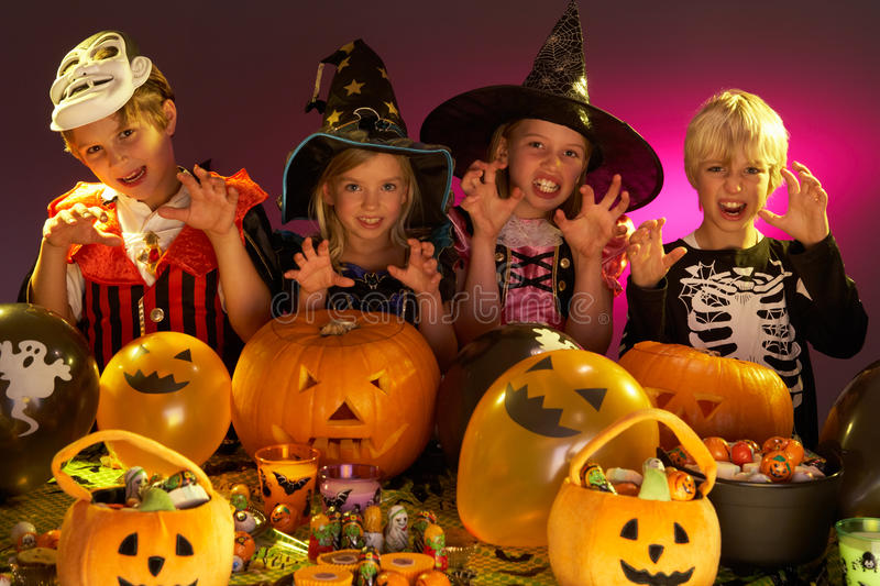 Download Halloween Party With Children Stock Photo - Image: 18047540