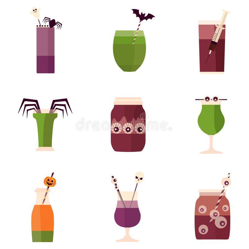Halloween Party Cocktails and Drinks Menu vector illustration