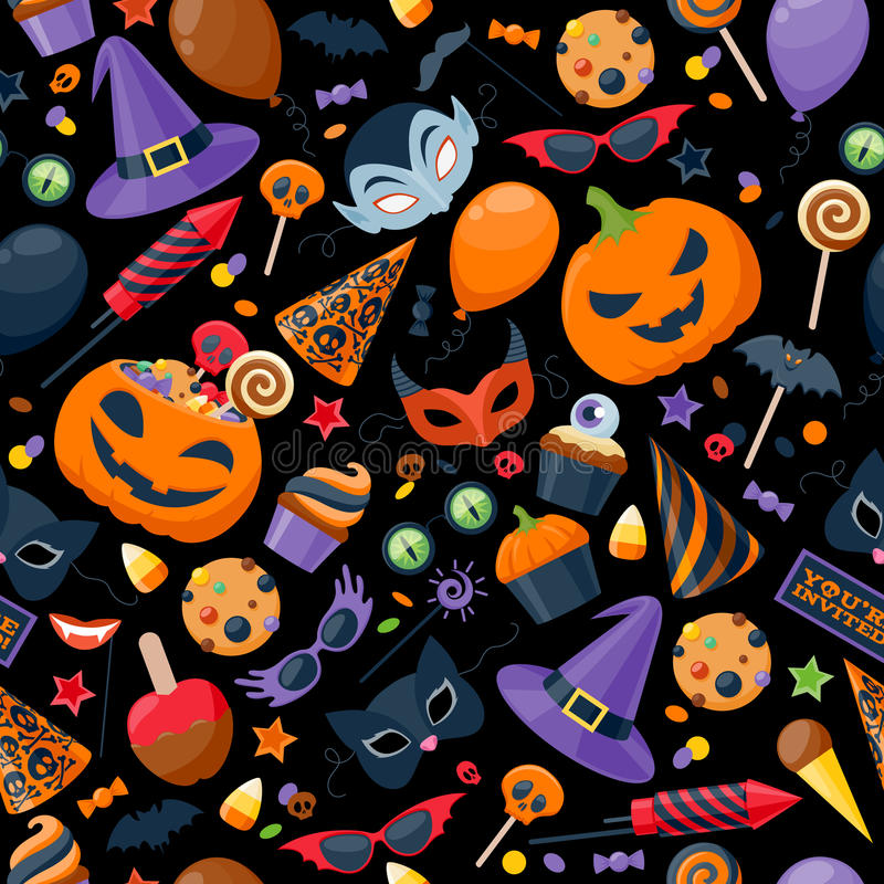 Halloween party colorful seamless pattern vector stock illustration