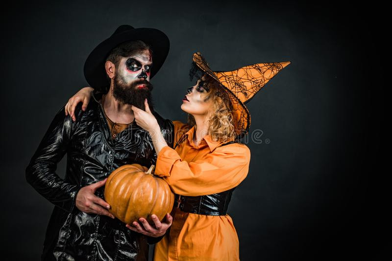 Halloween Party couple. Celebration Halloween. Happy family celebrating for Halloween. stock image