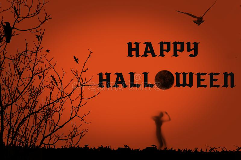 Halloween party creative illustration with black silhouette of zombie on orange background stock illustration