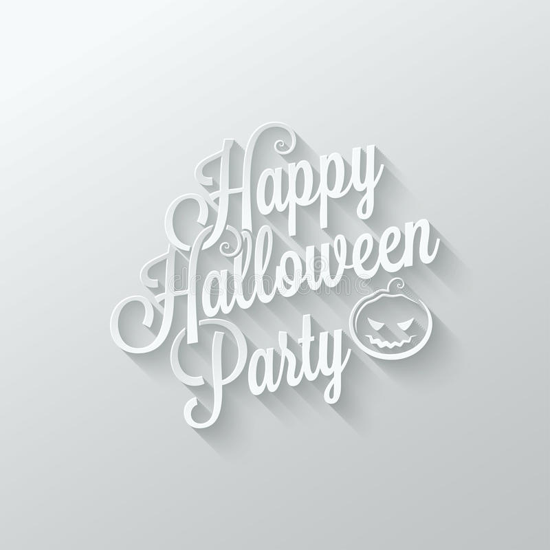 Halloween party cut paper lettering background royalty free illustration
