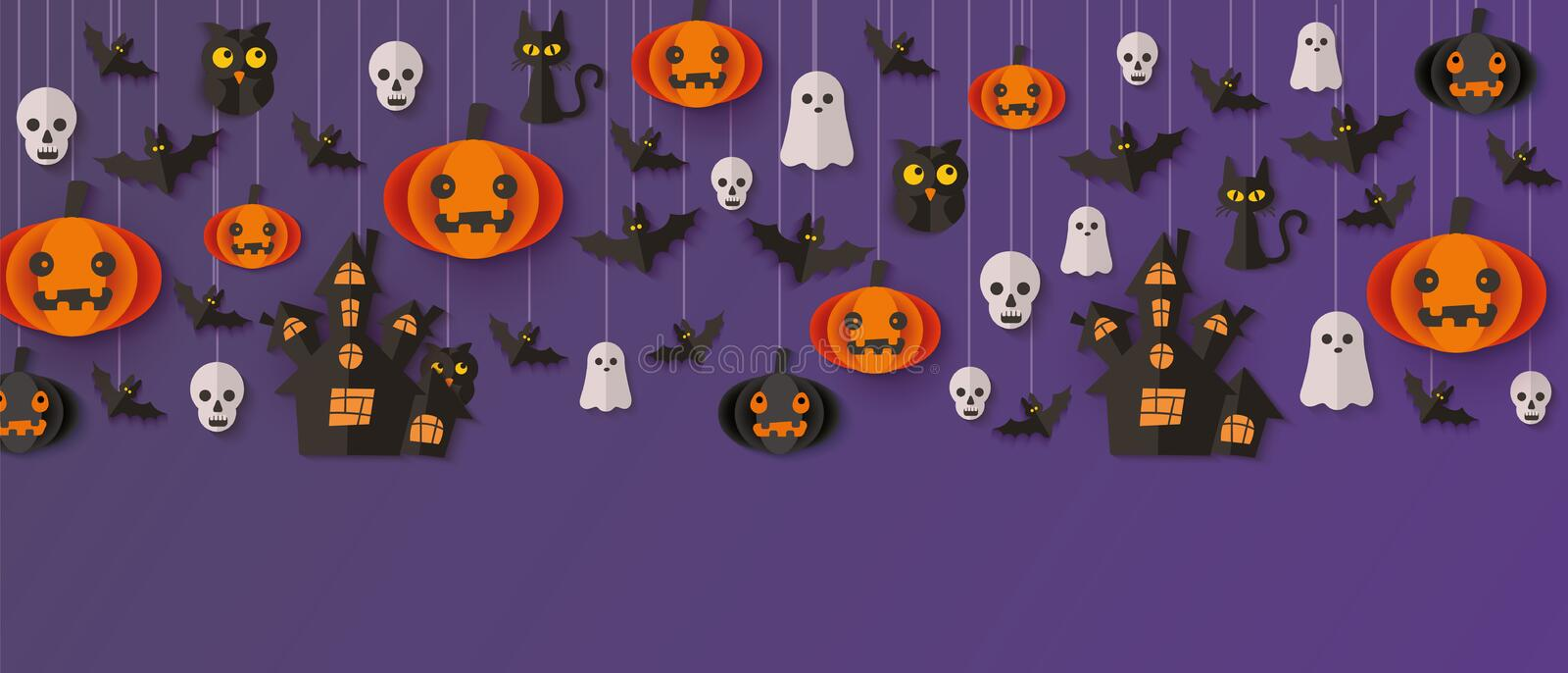 Halloween party decoration element hanging from above - cartoon holiday banner 向量例证