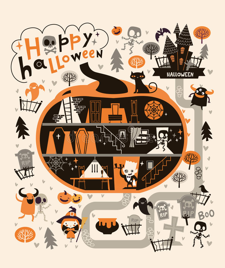 Halloween Party Design template, with the Dracula house within a pumpkin. Vector stock illustration