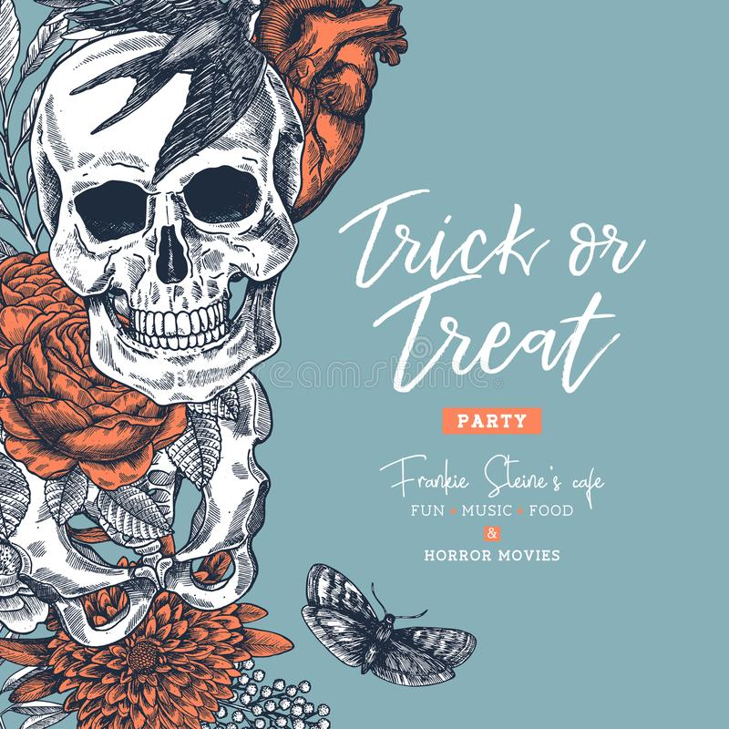 Halloween party design template. Vintage floral anatomy background. Vector illustration royalty free illustration