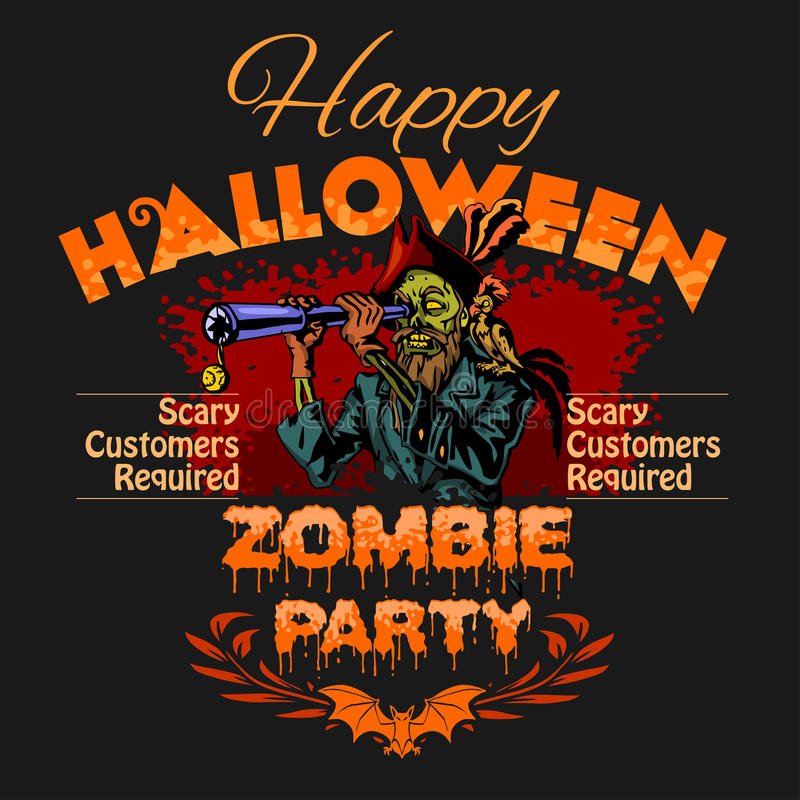 Halloween Party Design template with zombie and place for text. Halloween Party Design template with zombie and place for text on black background vector illustration