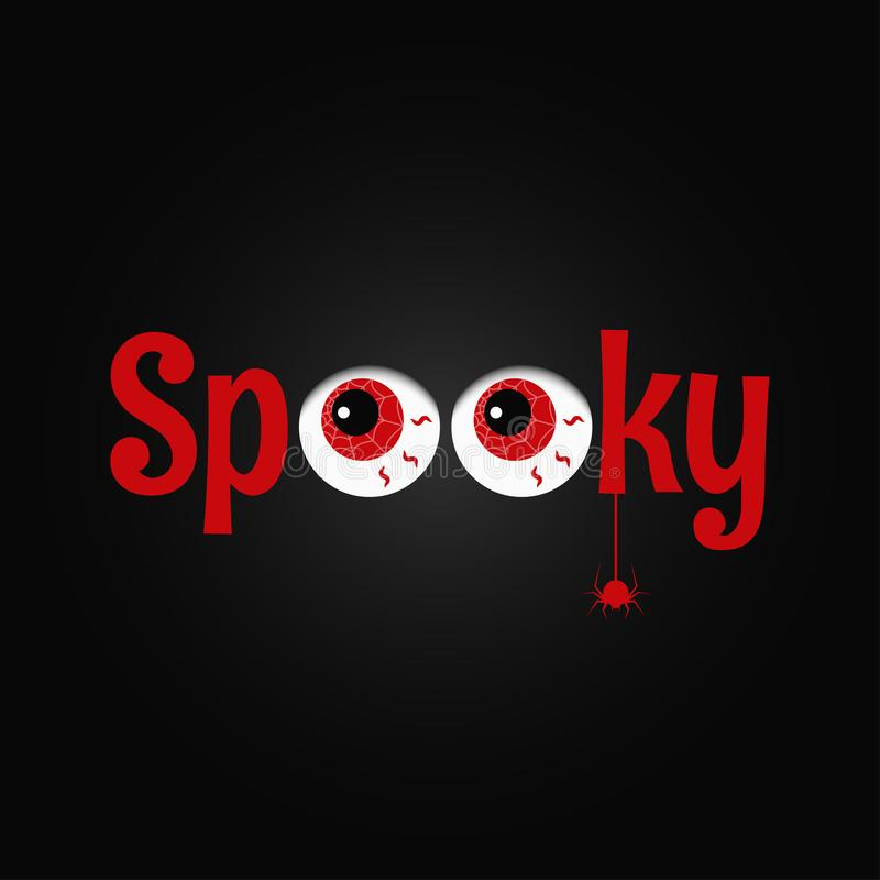 Halloween party eye design background. Spooky text. stock illustration