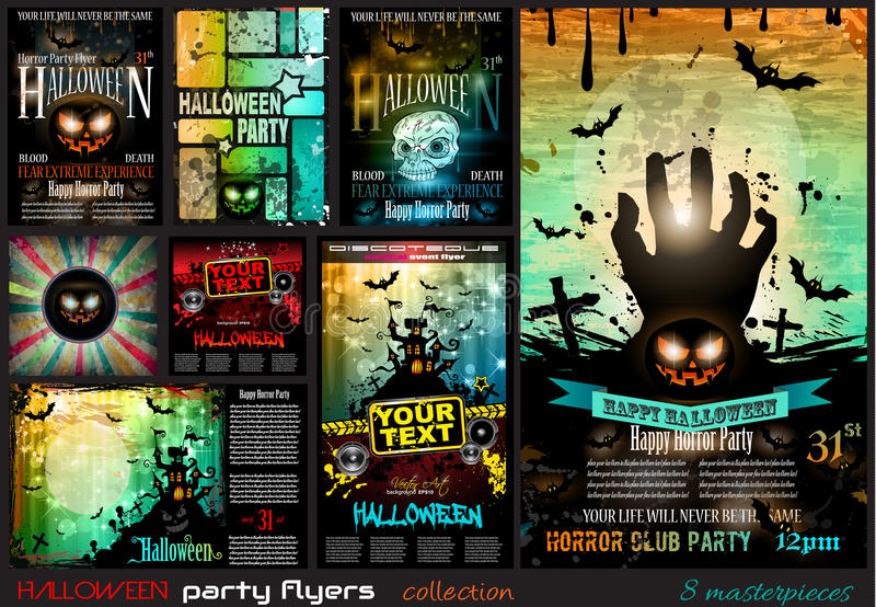 Halloween Party Flyer with creepy colorful elements stock illustration