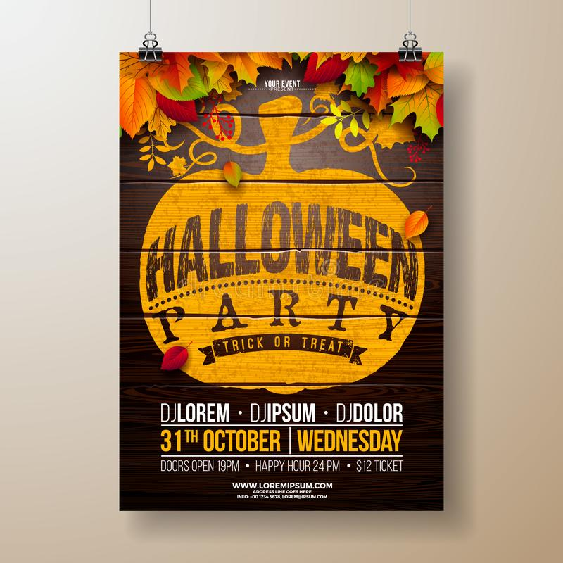 Halloween Party flyer illustration with autumn leaves and typography lettering in pumpkin on vintage wood background royalty free illustration