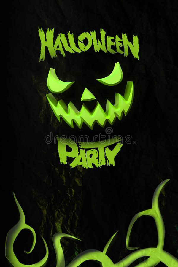 Halloween party flyer with grinning Jack O. Template with pumpkin and typography elements. Stamp for scary holiday celebration. 3d stock image