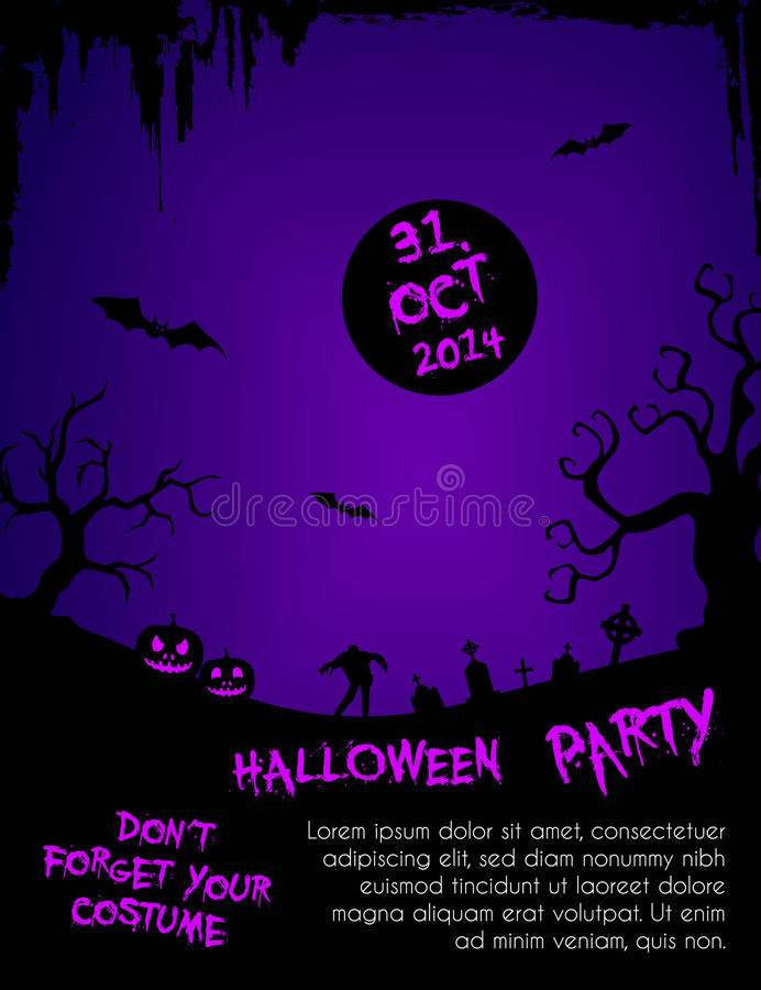 Halloween Party Flyer Template - Purple And Black Stock Vector