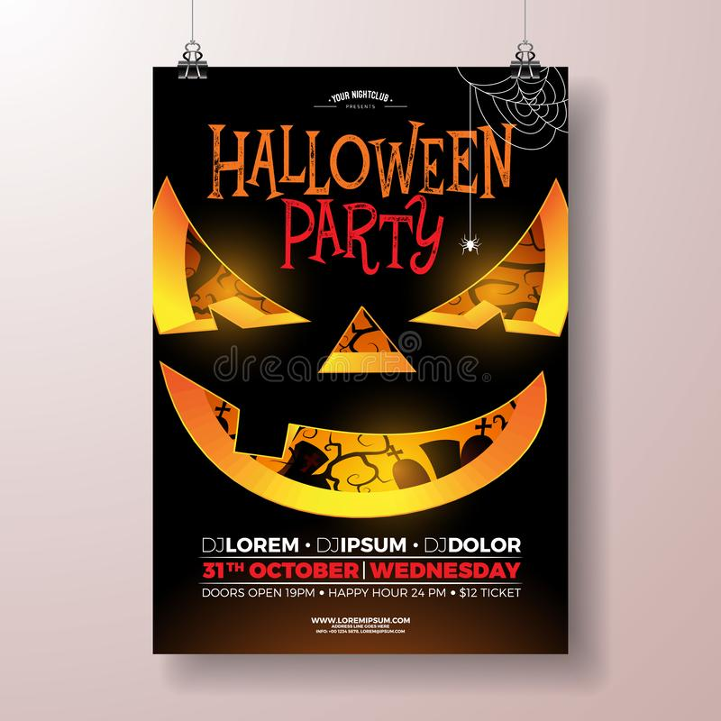 Halloween Party flyer vector illustration with scary face on black background. Holiday design template with cemetery for royalty free illustration